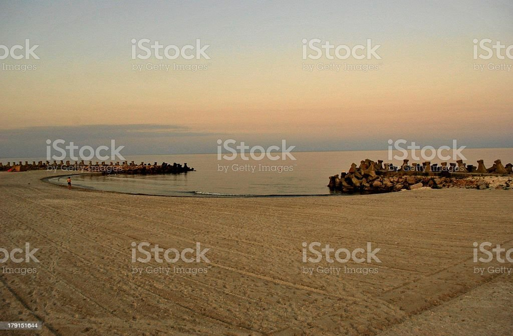 Jogging At Sunset Beach royalty-free stock photo
