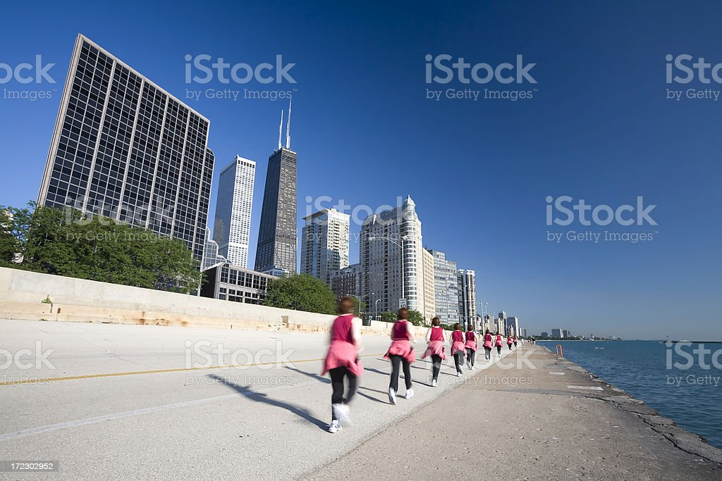 Jogging by Lake Michigan royalty-free stock photo