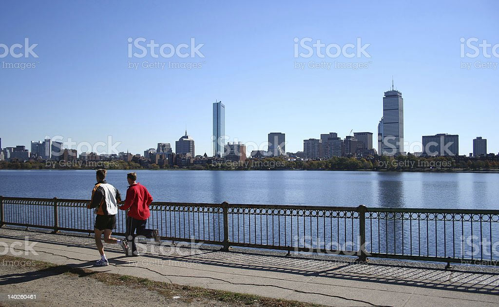 jogging by the Charles River Boston royalty-free stock photo