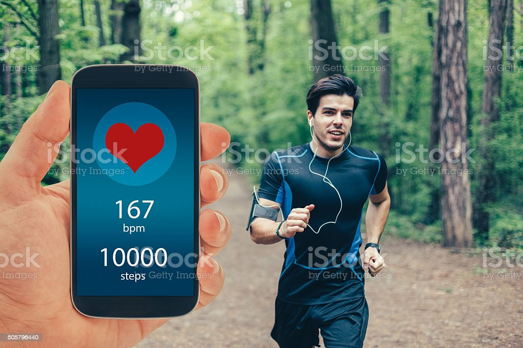 Jogging for a healthy lifestyle stock photo
