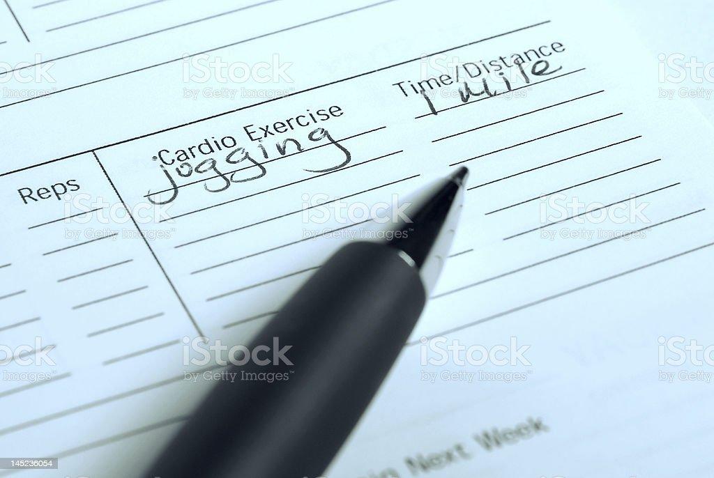 Jogging goals log royalty-free stock photo