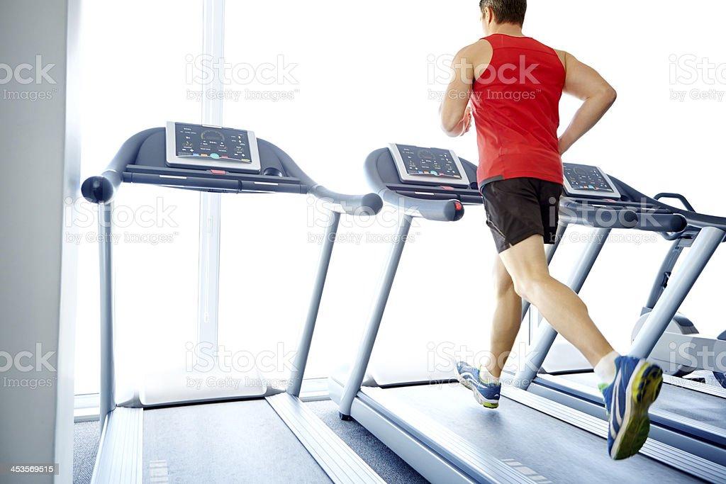 Jogging his way to good health stock photo