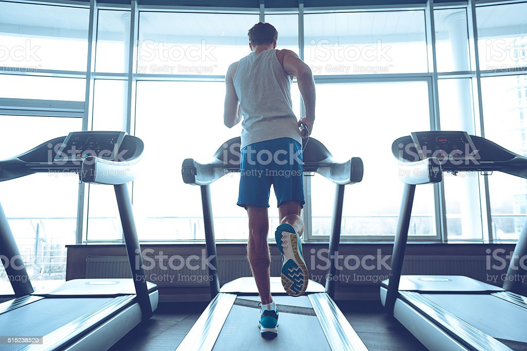Jogging his way to good health. stock photo