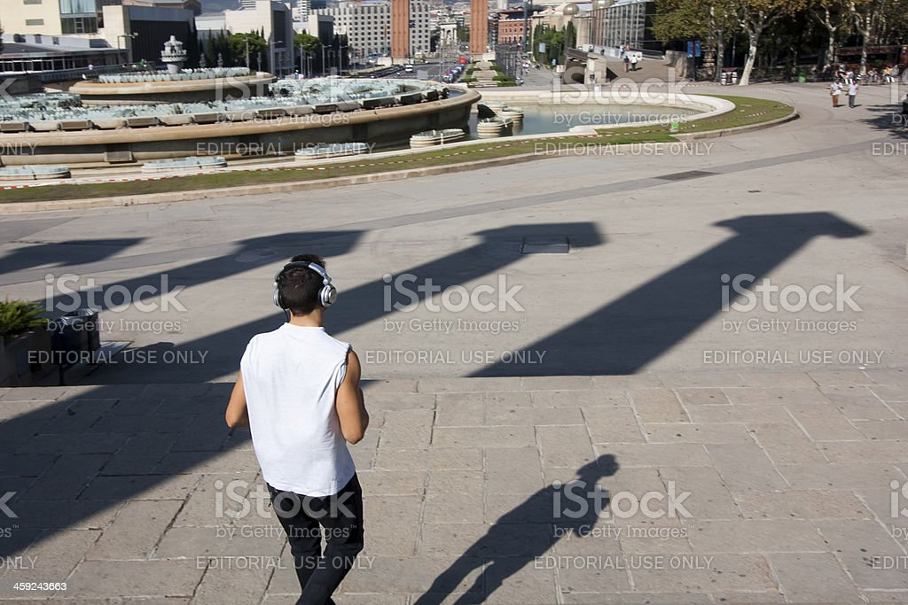 Jogging in Barcelona royalty-free stock photo