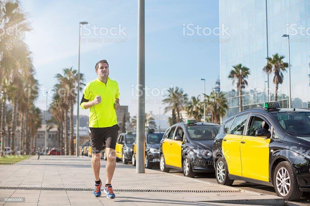 Jogging in Barcelona stock photo