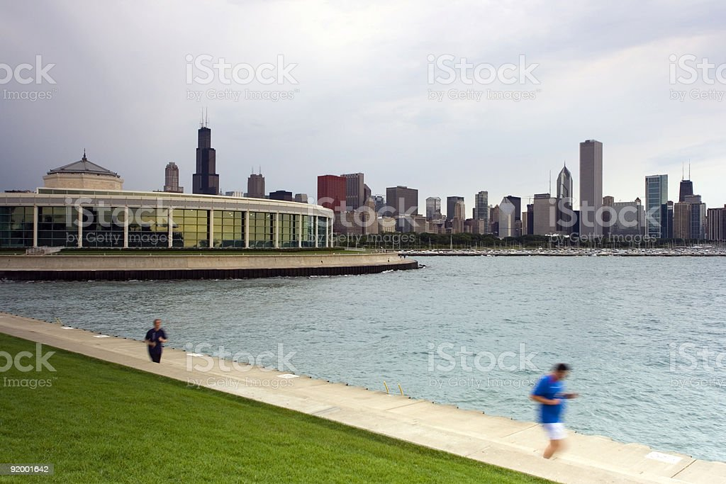 Jogging in Chicago stock photo