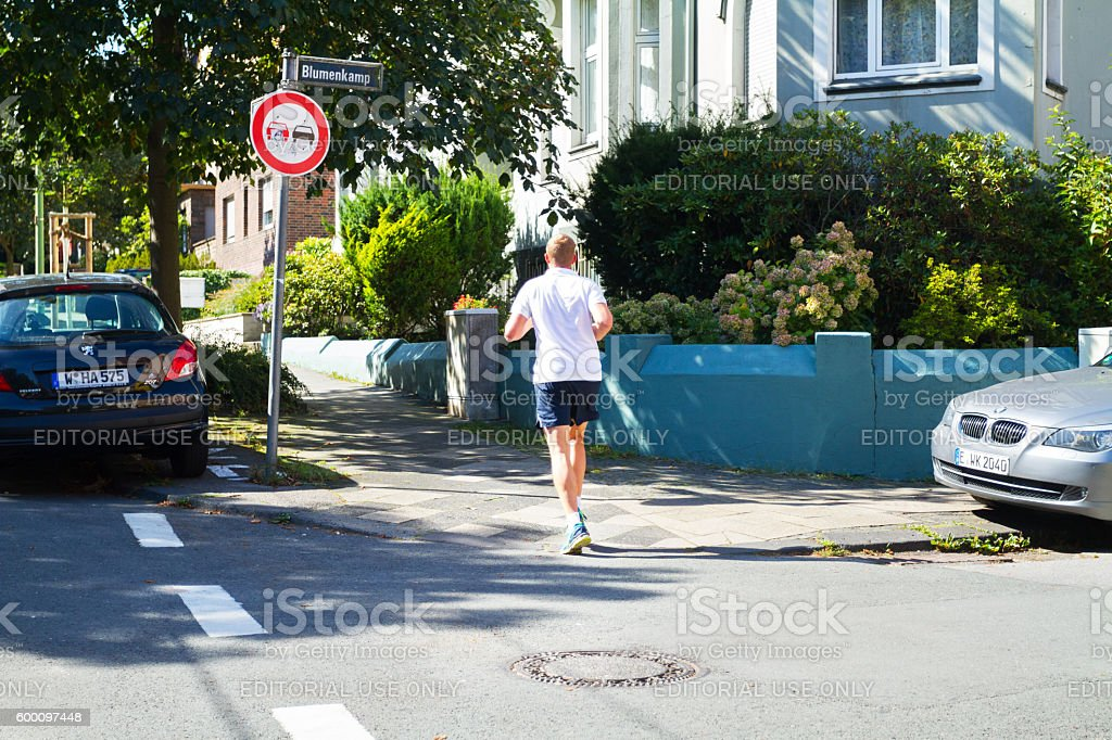 Jogging in city at summer stock photo