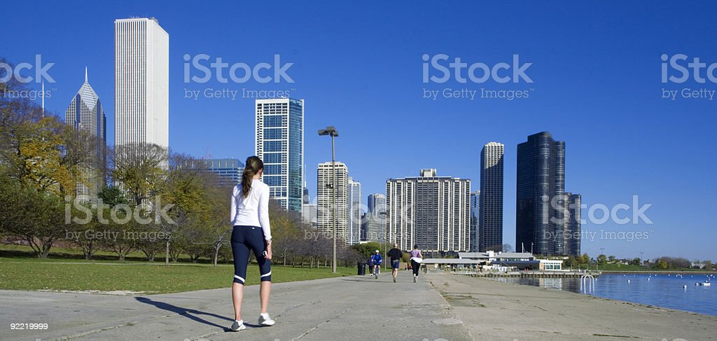 Jogging in downtown Chicago stock photo