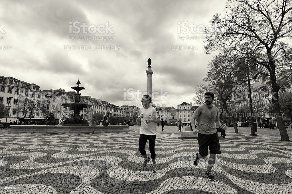 Jogging in Lisbon royalty-free stock photo