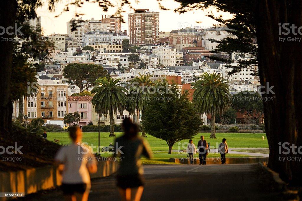 Jogging in San Francisco royalty-free stock photo