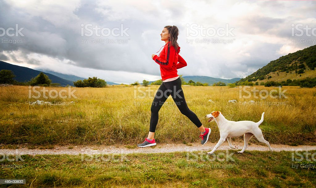 Jogging in the beautiful nature stock photo