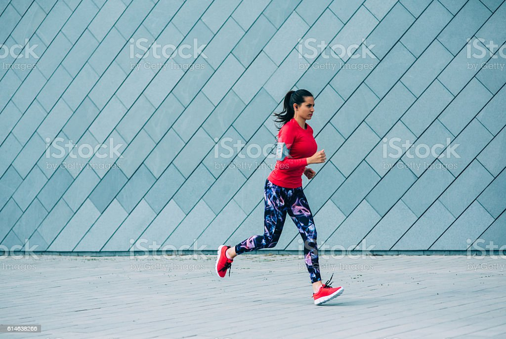 Jogging in the city stock photo