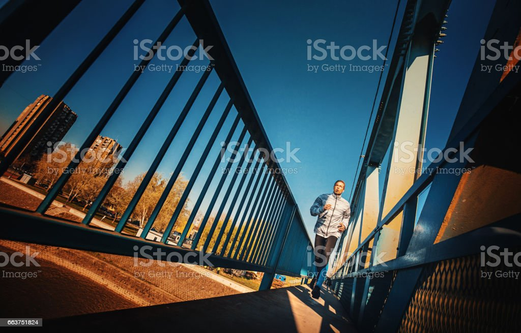 Jogging in the morning. stock photo