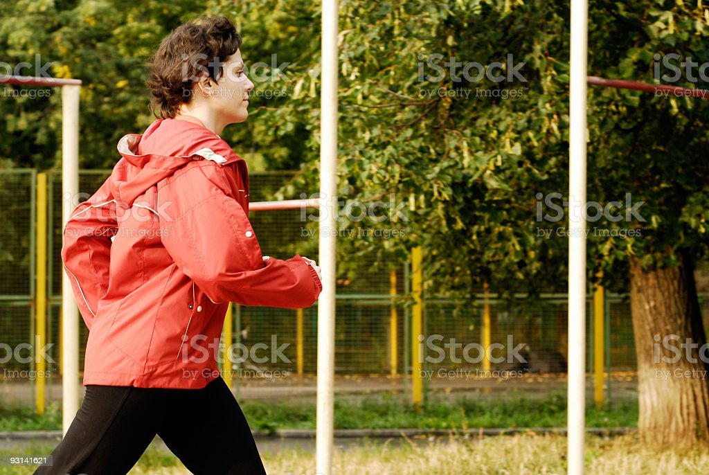 Jogging in the morning stock photo