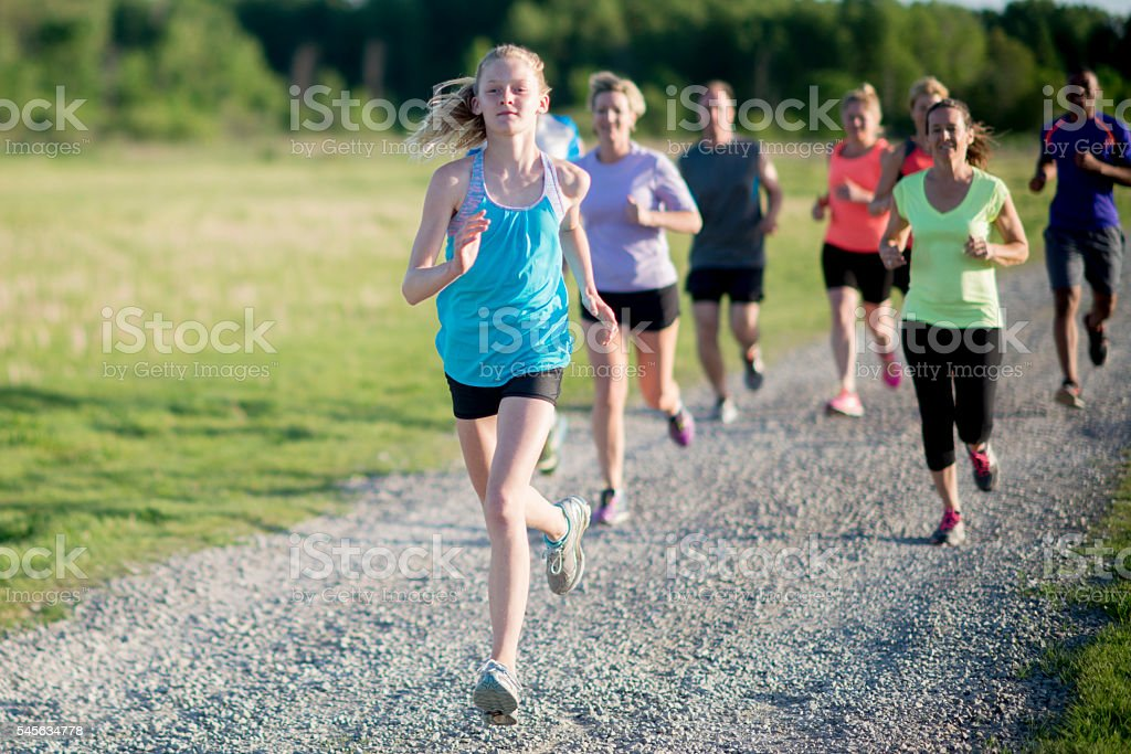 Jogging on a Gravel Road stock photo