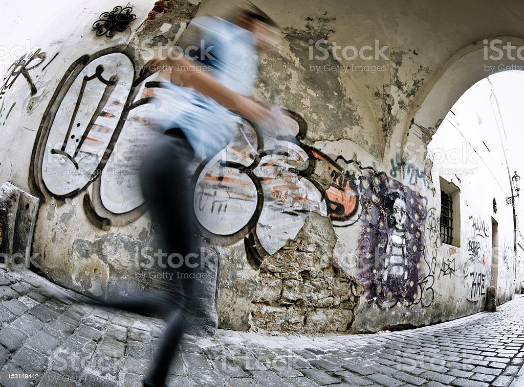 Jogging on Cobblestone royalty-free stock photo