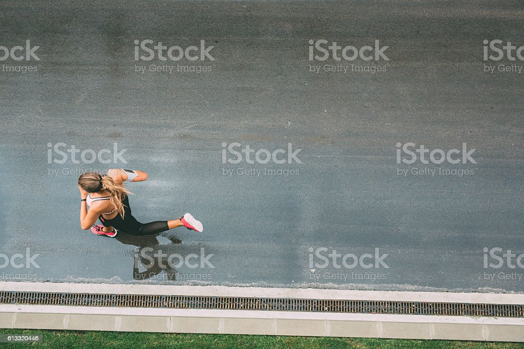 Jogging on the street stock photo