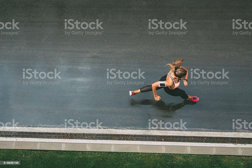 Jogging on the street stock photo