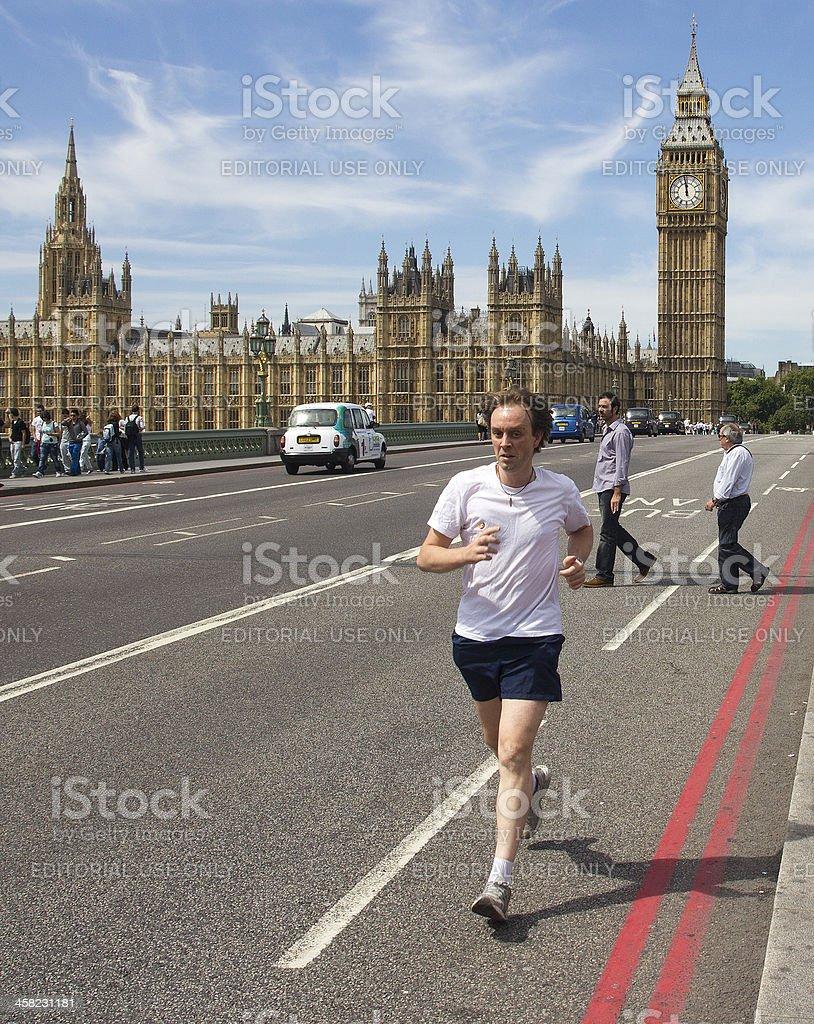 Jogging on Westminster Bridge royalty-free stock photo