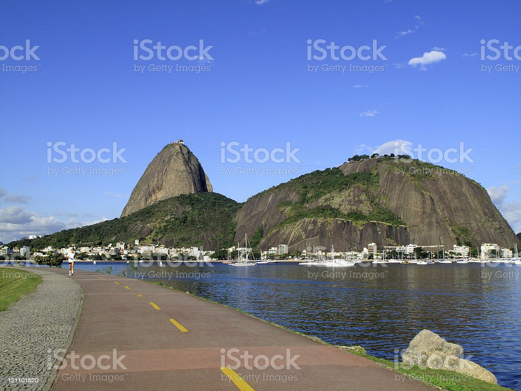 Jogging runway in front of the Sugarloaf royalty-free stock photo