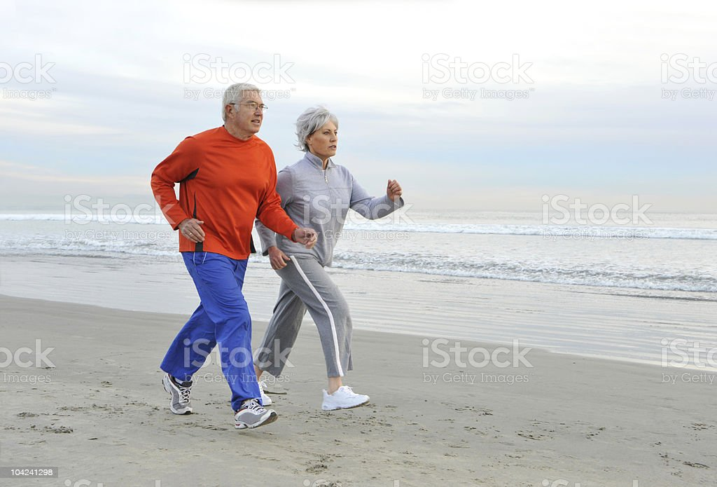 Jogging Senior Couple royalty-free stock photo