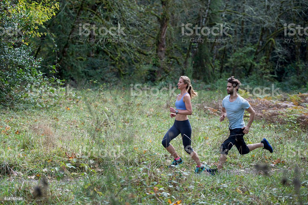 Jogging Through the Woods stock photo