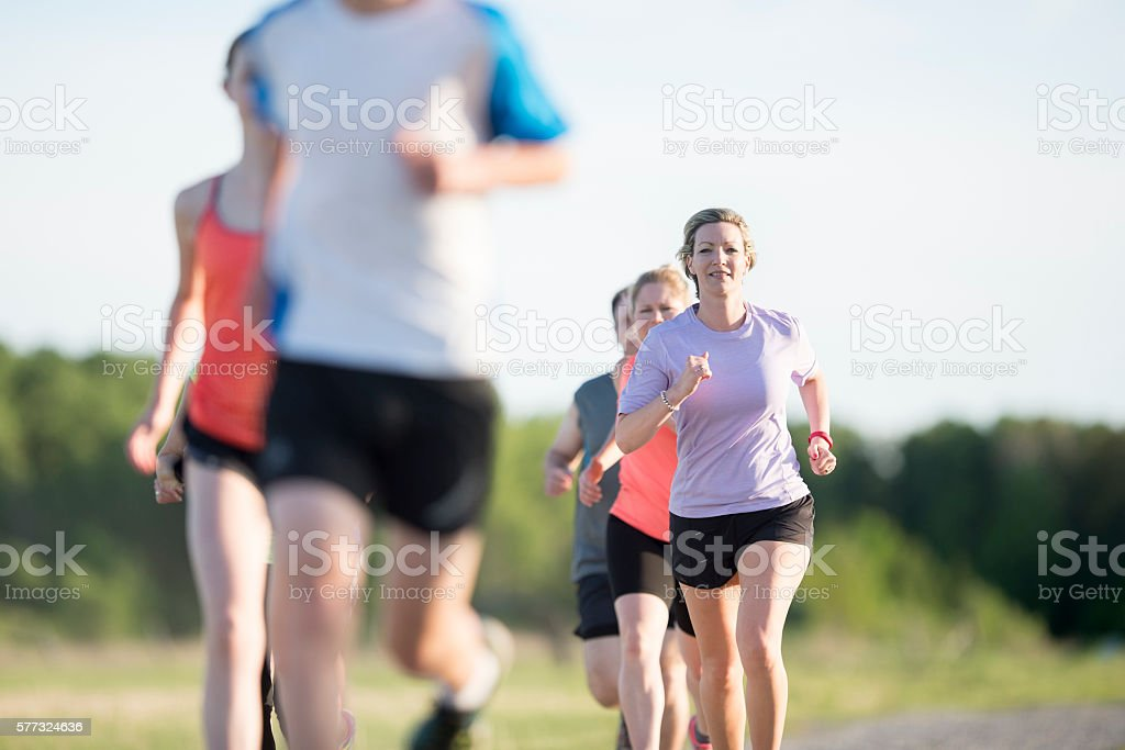 Jogging Together Outdoors stock photo