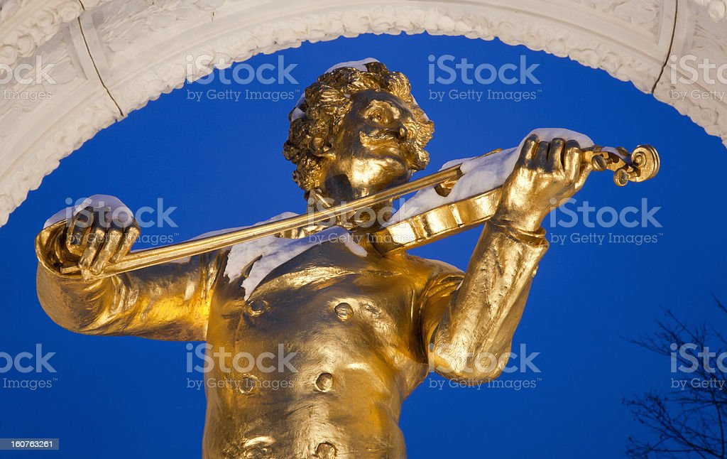 Johan Strauss memorial from Vienna Stadtpark in winter royalty-free stock photo