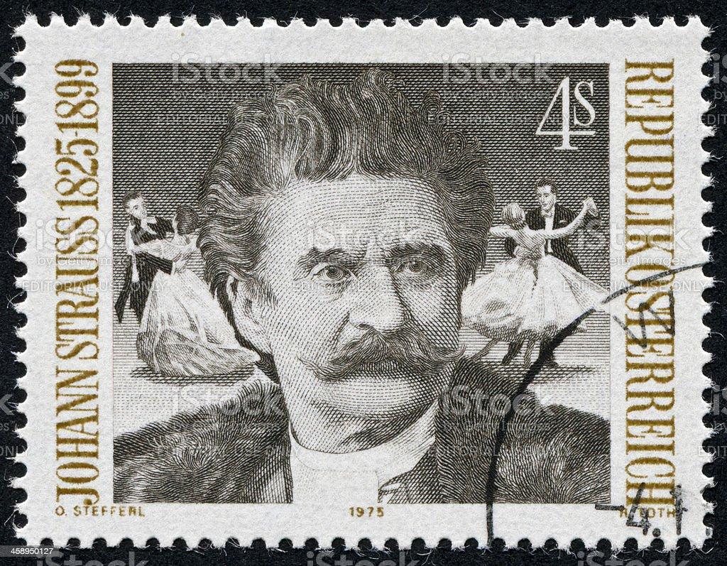 Johann Strauss Stamp stock photo