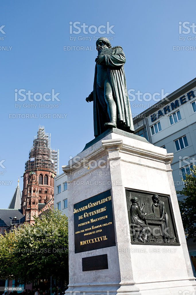 Johannes Gutenberg memorial in the city center of Mainz stock photo