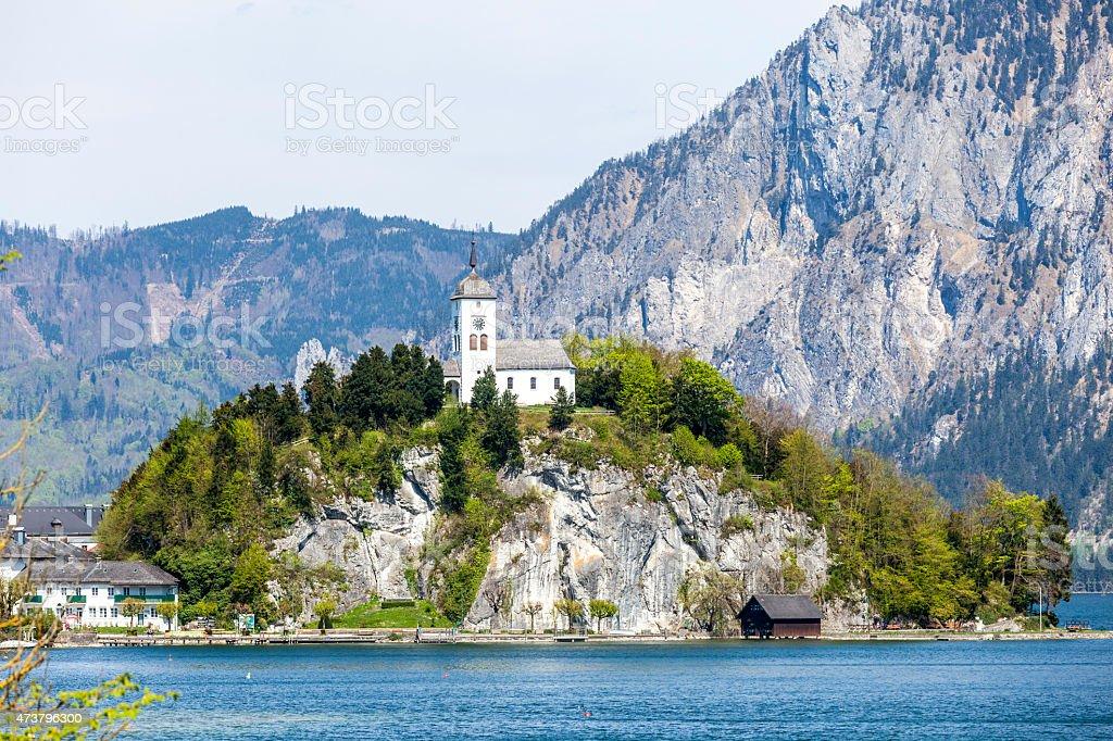 Johannesberg-chapel in Upper Austria in Traunkirchen stock photo