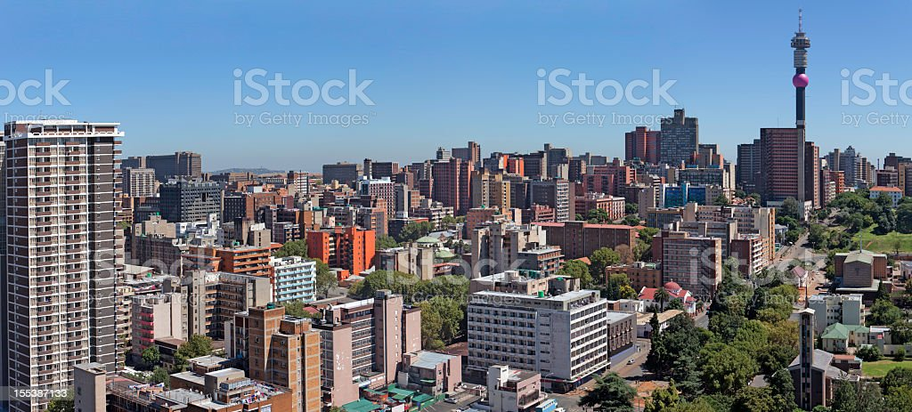 Johannesburg and Hillbrow panorama stock photo