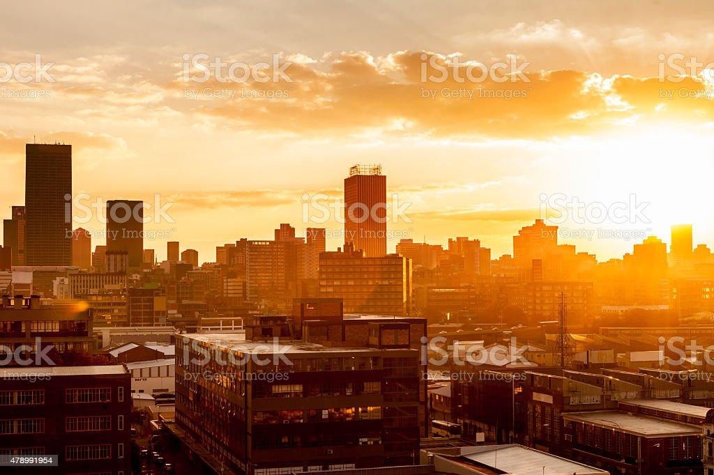 Johannesburg City at sunset stock photo