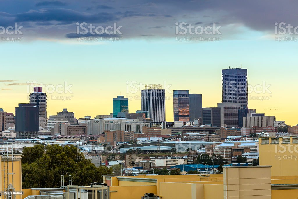 Johannesburg city centre from Gold Reef City stock photo
