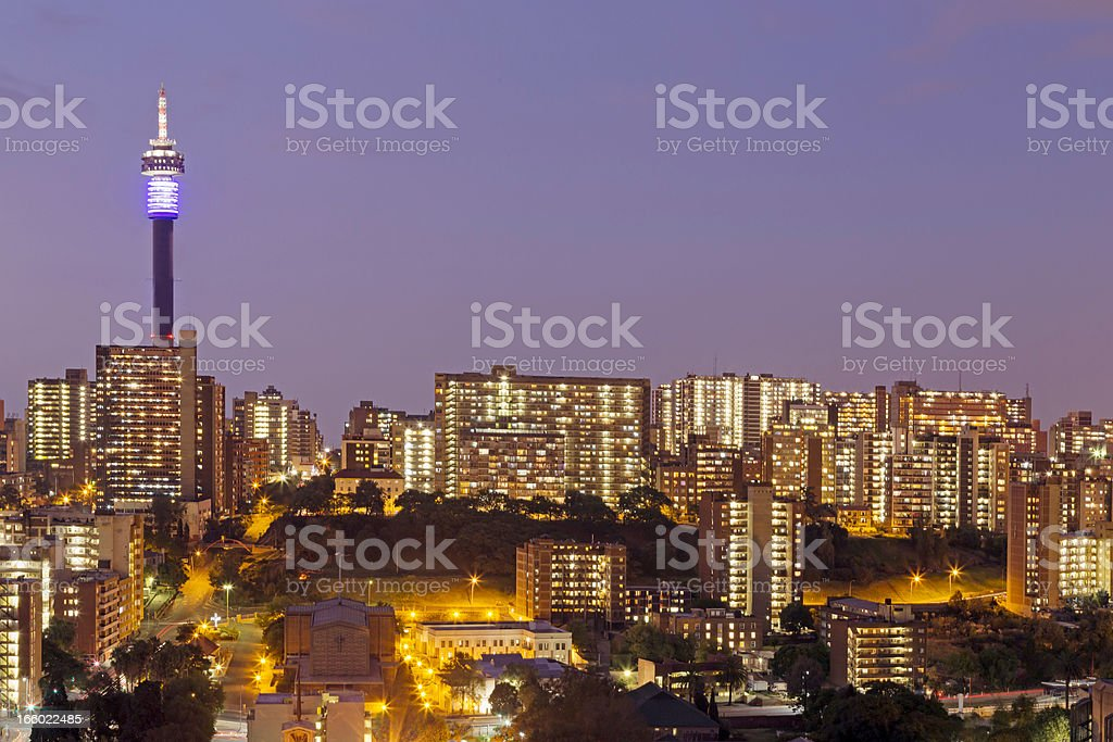Johannesburg City evening in Hillbrow stock photo
