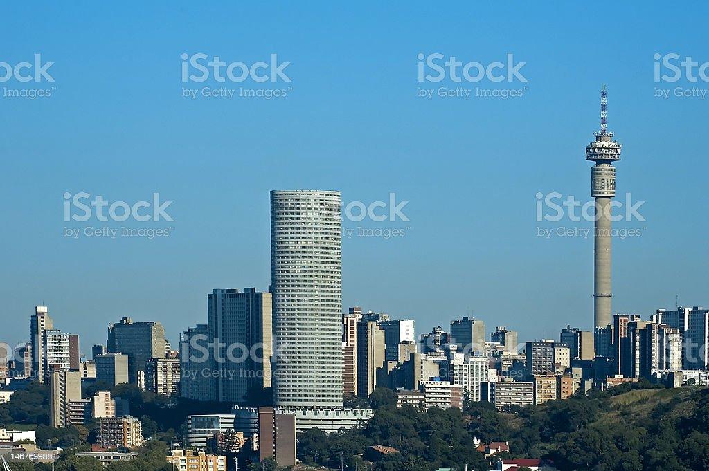 Johannesburg City Skyline and Buildings with blue sky stock photo