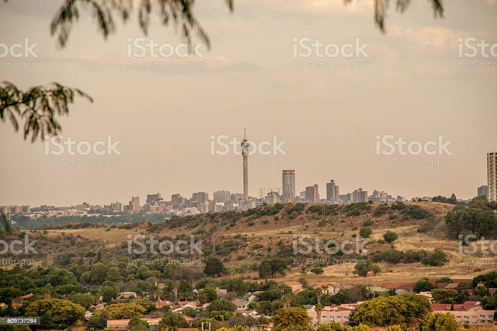 Johannesburg city skyline with suburb in the foreground stock photo