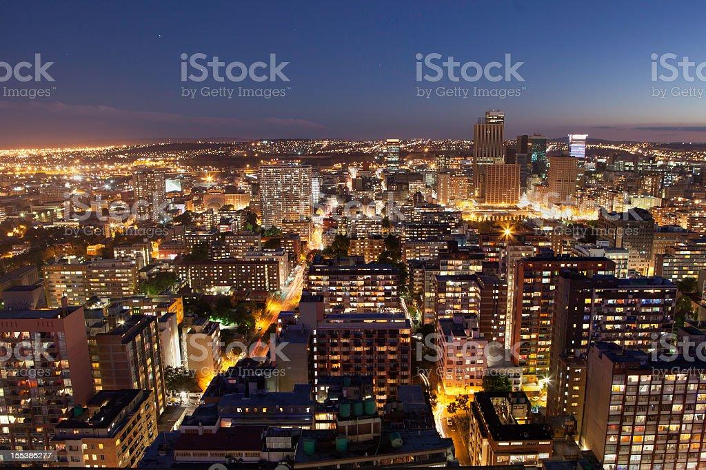 Johannesburg city sunset from Hillbrow stock photo