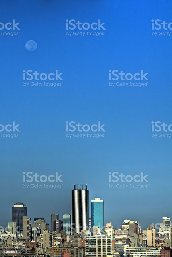 Johannesburg City under the Moon royalty-free stock photo