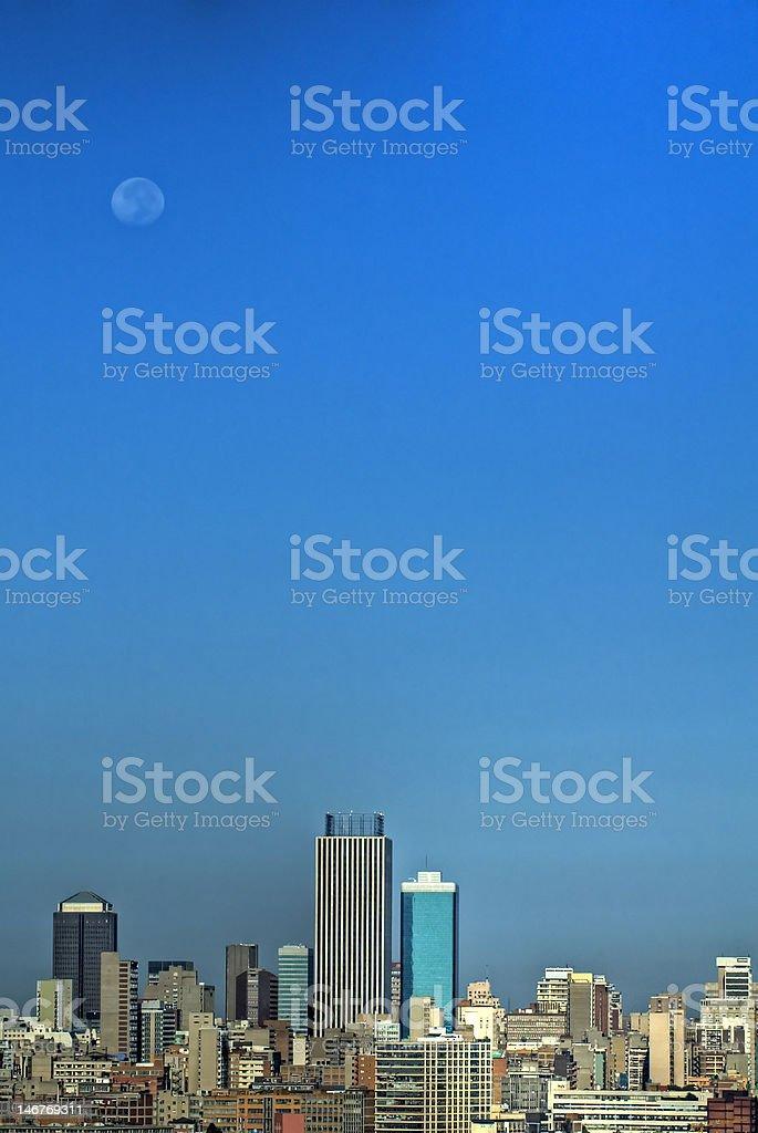 Johannesburg City under the Moon stock photo