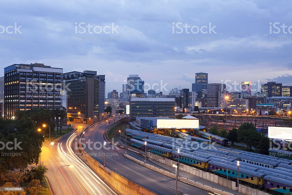 Johannesburg city with Park Station royalty-free stock photo