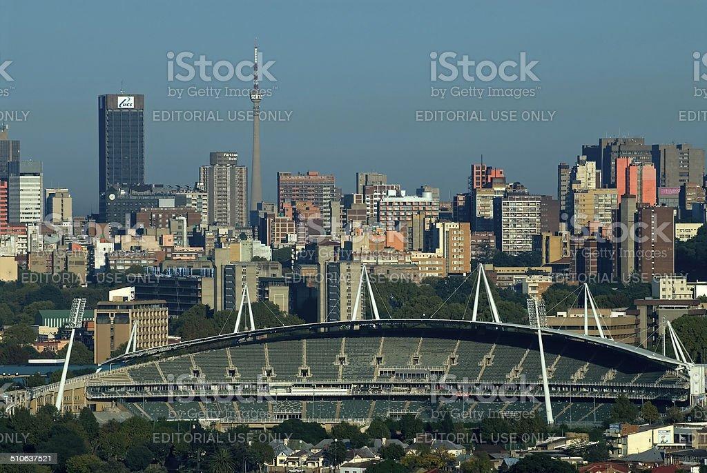 Johannesburg Cityscape and stadium stock photo