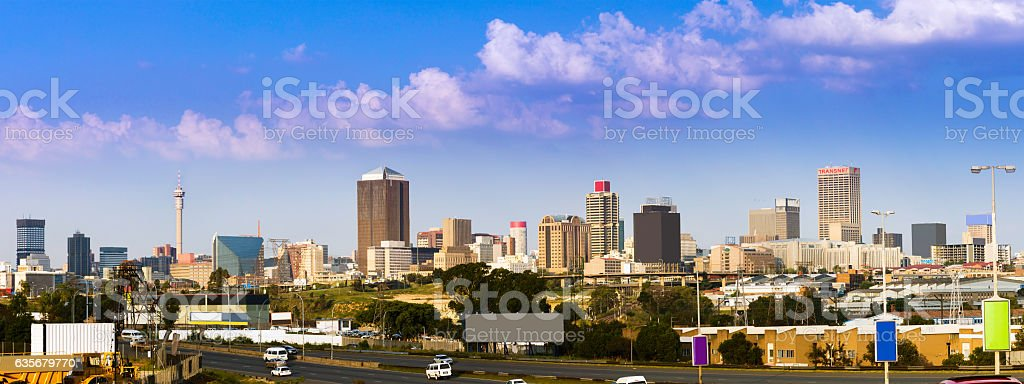 Johannesburg cityscape seen from the South West stock photo