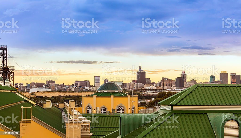 Johannesburg cityscape with Gold Reef City stock photo