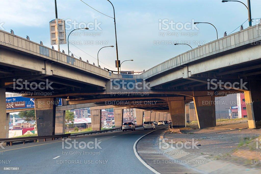 Johannesburg M1 motorway over the city. stock photo
