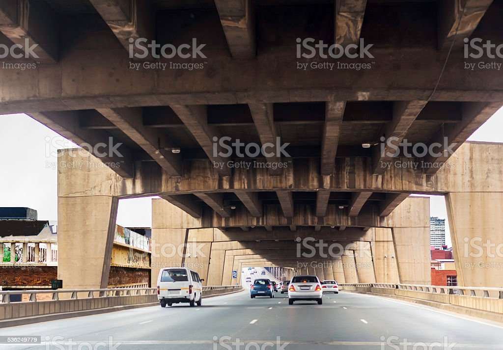 Johannesburg M1 motorway over the city with four lanes stock photo