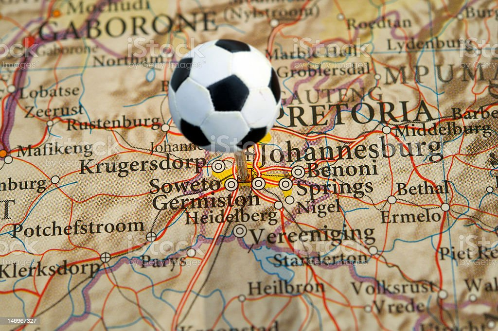 Johannesburg, South Africa, on map with soccer pin royalty-free stock photo
