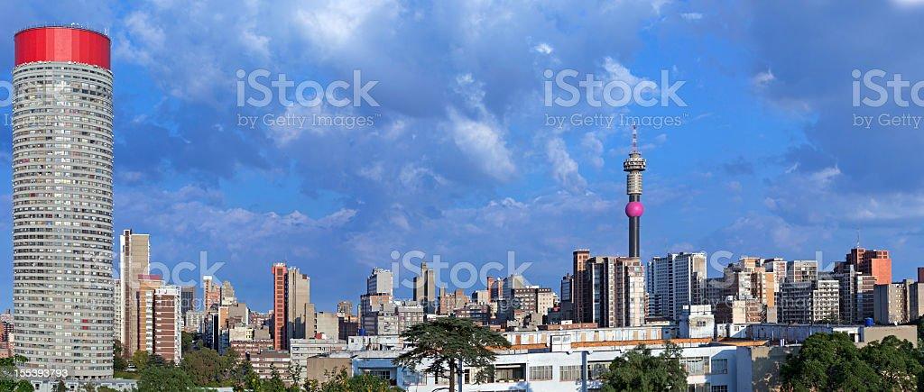 Johannesburg sunrise cityscape stock photo