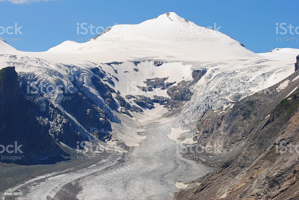 Johannisberg peak and Pasterze Glacier in Austria. stock photo
