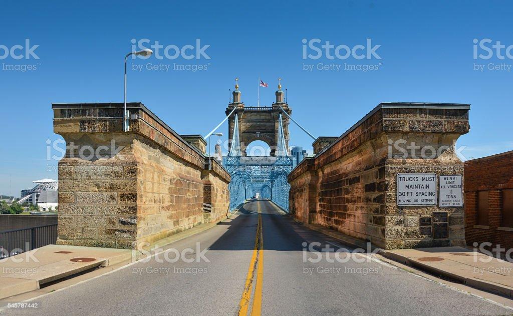 John A. Roebling Suspension Bridge Cincinnati stock photo